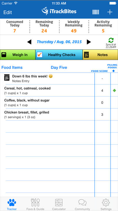 I Track Bites >> Food Score and Calorie Calculator and Tracker for Weight Loss